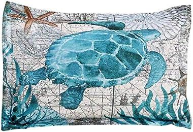 SDIII 3Pieces Turtle Comforter Full/Queen Size Aqua Turquoise Ocean Beach Themed Hawaiian Nature Tortoise Style Full/Queen Si