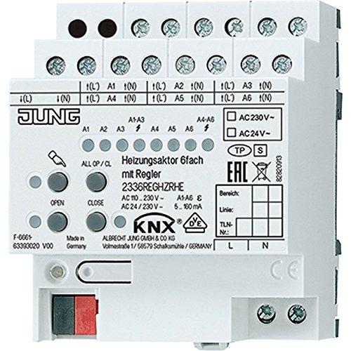 Jung KNX-Heizungsaktor 2336 REG HZR HE 6-Fach REG 4TE Triac Bussystem-Heizungsaktor 4011377158276