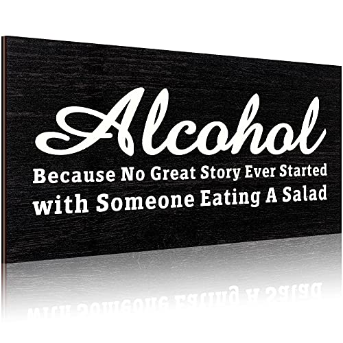 Jetec Funny Alcohol Wooden Sign, Alcohol Because No Great Story Ever Started with Someone Eating A Salad Sign Rustic Wall Decor Vintage Primitive Home and Bar Hanging Decor