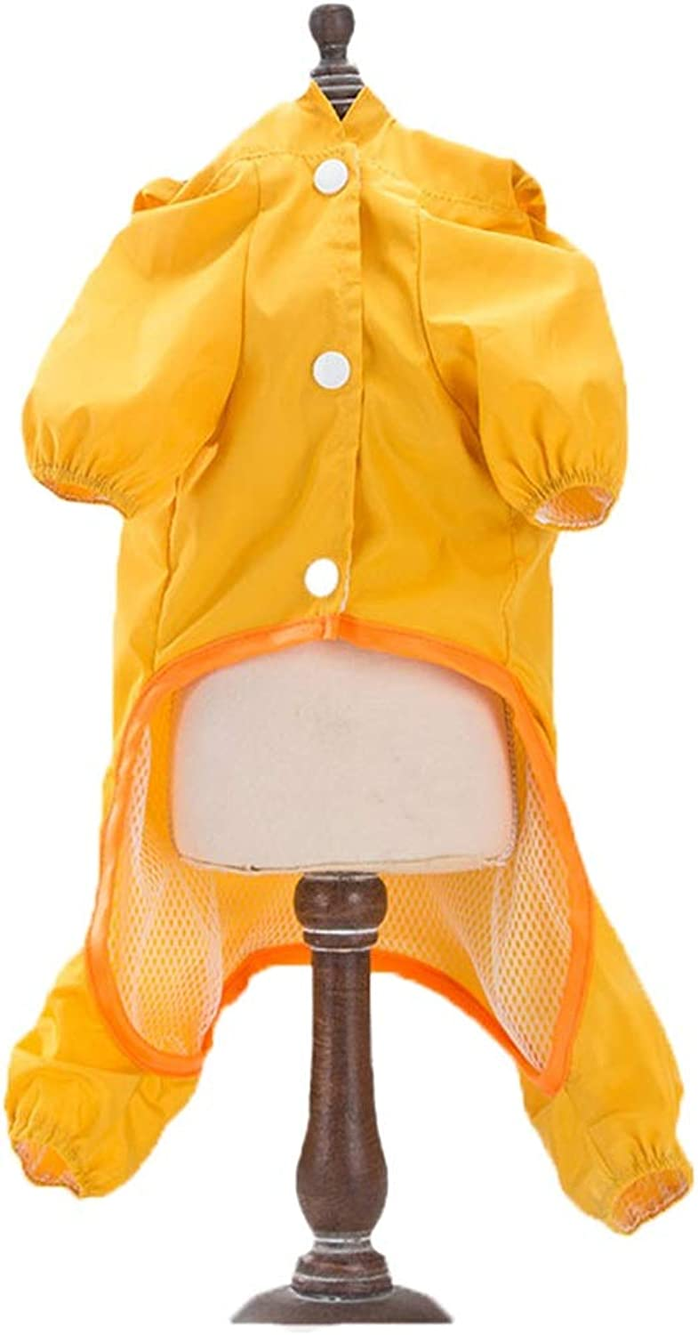 Net red Dog Raincoat Small Medium Dog Four feet Waterproof pet Teddy Schnauzer Keji Clothes Puppy Umbrella HXBLB (color   Yellow, Size   M)