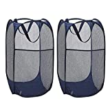 VIPITH Laundry Hamper, Large 60 Liters Pop-Up LaundryHamper, Foldable Mesh Hamper with Carry Handles for Clothes and Toys Storage (Blue), Pack of 2