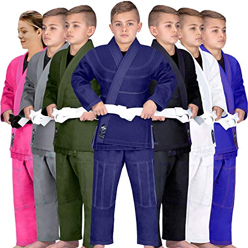 Elite Sports Kids BJJ GI, Youth Jiu Jitsu IBJJF Children's Brazilian Jiujitsu Kimono W/Preshrunk Fabric & Free Belt (Navy, C1)