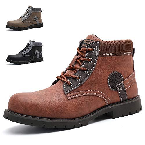 TQGOLD Scarpe Antinfortunistica Uomo Stivali Pelle S3 Impermeabili Scarpe da Lavoro Leggere Punta in Acciaio Scarpe di Sicurezza(Taglia 42 DE,Rosso Marrone