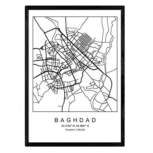 Nacnic Lámina Mapa de la Ciudad Baghdad Estilo nordico en Blanco y Negro. Poster tamaño A3 Sin Marco Impreso Papel 250 gr. Cuadros, láminas y Posters para Salon y Dormitorio