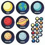 TownStix Espacio Planeta Sistema Solar Pegatinas - 20 Hojas, 200 Pegatinas