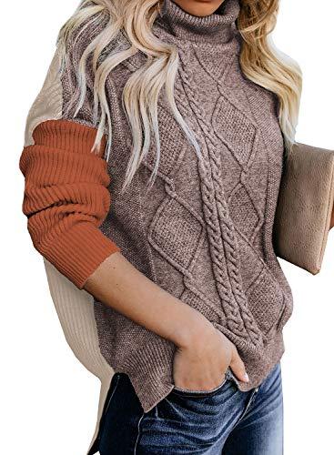 CORAFRITZ Damen Rollkragenpullover mit Zopfmuster, seitlicher Schlitz, hoher, niedriger Saum, lange Schulterpartie, gerippter Pullover für den Winter Gr. M, Orange