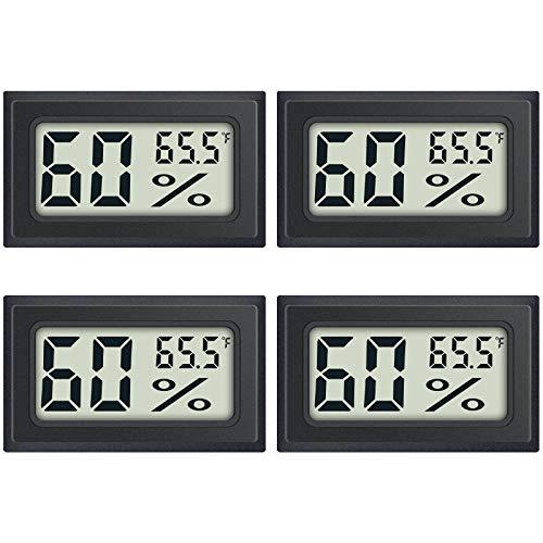 4-Pack Mini Digital Thermometer Hygrometer Indoor Humidity Monitor Temperature Humidity Gauge Meter with Fahrenheit (℉) for Humidors, Greenhouse, Garden, Cellar, Closet, Fridge Etc by DWEPTU