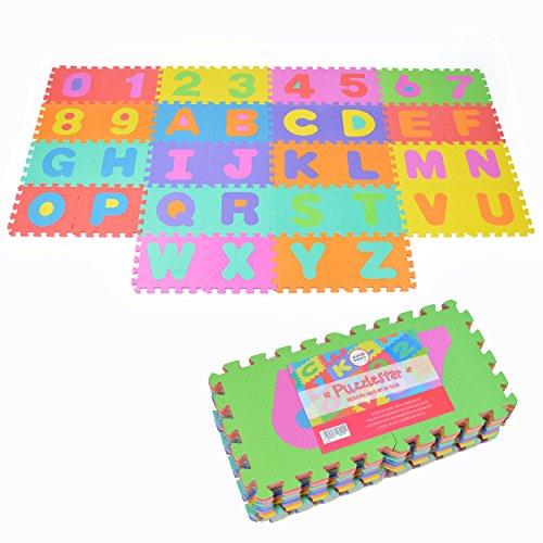 Puzzlestar XXL, 86 pezzi puzzle tappeto per bambini in EVA antiscivolo - Il grande tappeto gioco può essere montato, ogni pezzo è 30x 30x 30x 30x 1cm di larghezza - Tappeto Puzzle con numeri e lettere