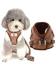 Zunea Zestaw szelek i smyczy dla małego psa, zapobiegający ciągnięciu, regulowany, odblaskowy, szelki wykonane z miękkiej siatki sztruksowej, dla pieska i suczki, szczeniąt, chihuahua, kotów