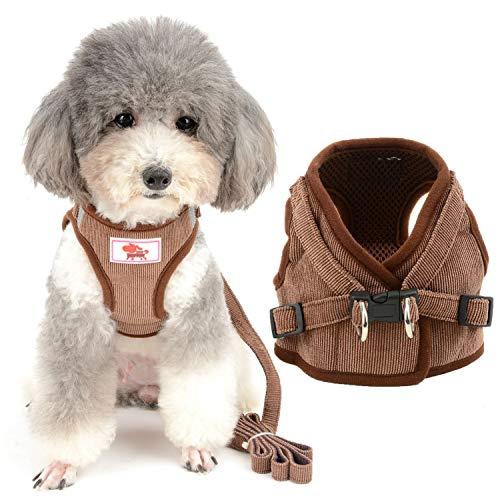 ZUNEA ペット 犬用ハーネス 胴輪 小型犬 猫用 ソフト メッシュ ベスト ハーネス リードセット おしゃれ 可愛い 通気性 首輪 反射テープ 安全 調節可能 簡単着脱 しつけ 散歩用 4色5サイズ ブラウン L