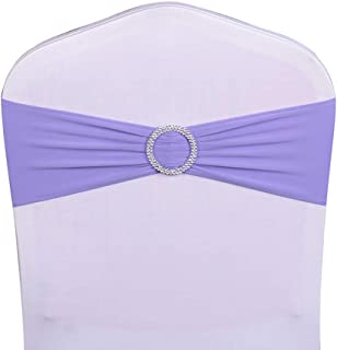 WENSINL Pack of 50 Spandex Chair Sashes Bows Elastic Chair Bands with Buckle Slider Sashes Bows for Wedding Decorations Without White Covers (Lavender
