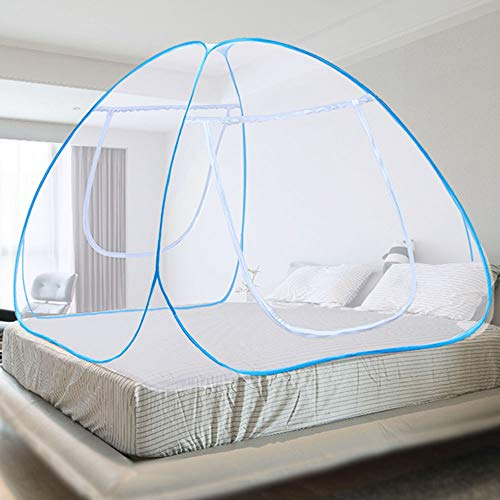 """Mintime Pop-Up Mosquito Net Portable Folding Mosquito Net Tent with Bottom Double Doors Bed Tent for Baby Toddlers Adult (King Size, 71""""x79""""x59"""") (Blue)"""