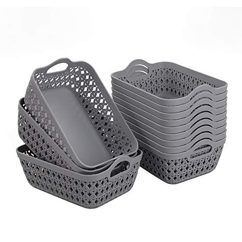 Readsky Small Medium Grey Plastic Storage Baskets with Handles Desktop Organizer, Pack of 12