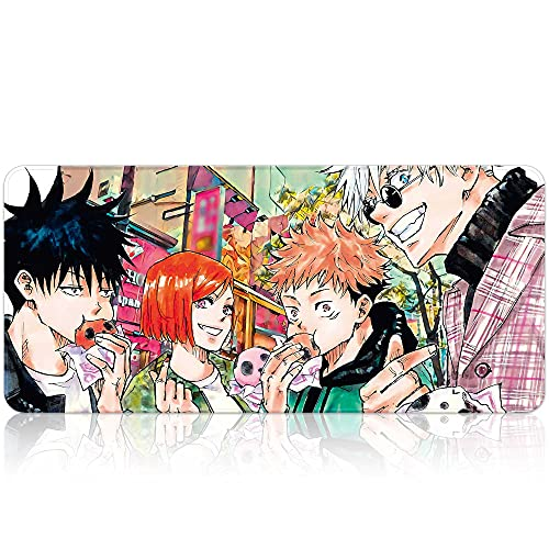 Japanese Anime Extended Gaming Mouse Pad Large Size, Gojo Satoru Desk Mat, Art Rubber Waterproof Mousepad with Personalized Design for Laptop (B, 35.4'x15.7')