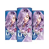 Schwarzkopf LIVE Pretty Pastels Purple Hair Dye, Pack of 3, Semi-Permanent Colour lasts up to 8 washes - P120 Lilac Crush