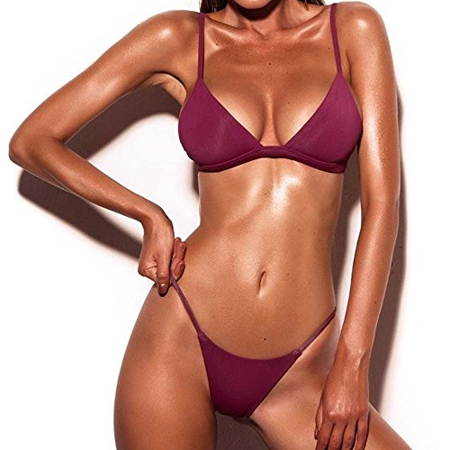 QingJiu Frauen Push-Up Gepolsterter BH Strand Bikini Set Badeanzug Bademode