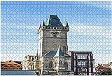 1000 piezas-Reloj astronómico y torre en Praga República Checa Rompecabezas de madera de Praga Rompecabezas educativos para niños de bricolaje Regalo de descompresión para adultos Juegos creativos Ju