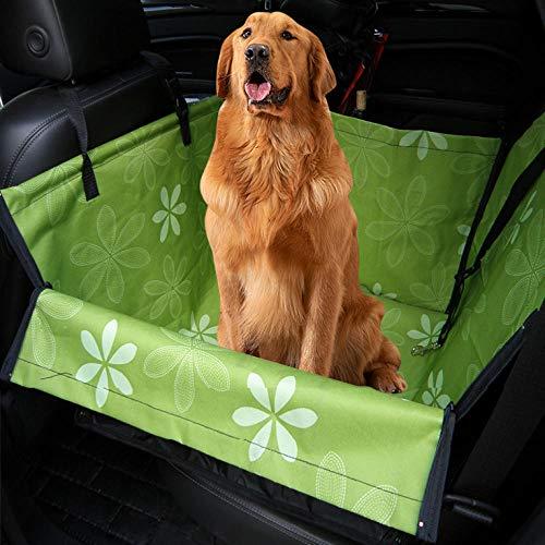 TTXP Coches para Perros Patrón de Flor Verde Manta Protectora Perro Coche para Coches Camiones