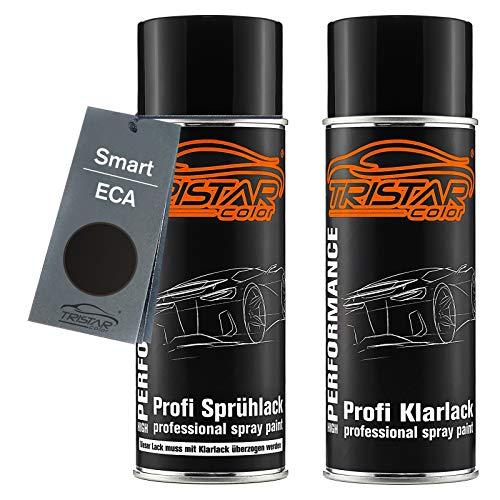 TRISTARcolor Autolack Spraydosen Set für Smart ECA Jack Black Basislack Klarlack Sprühdose 400ml