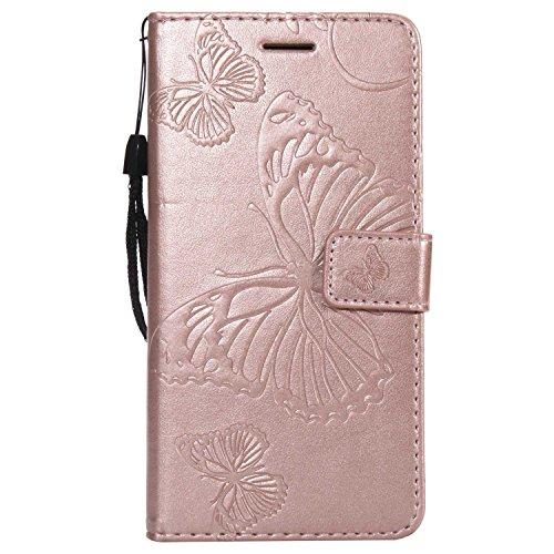 DENDICO Cover Galaxy J5 2017, Pelle Portafoglio Custodia per Samsung Galaxy J5 2017 Custodia a Libro con Funzione di appoggio e Porta Carte di cRossoito - Oro Rosa