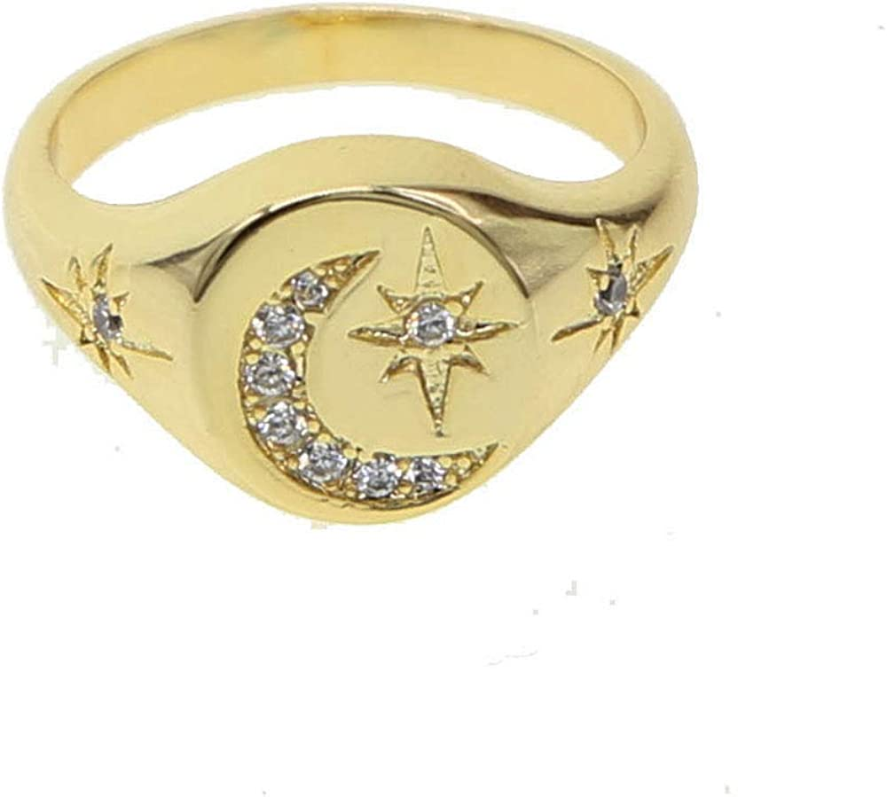 ATJMLADYJEWELRY Classic Women Finger Jewelry Gold Plated Moon Star Engraved Star Signet Ring 6 7 8