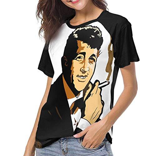 fenglinghua Camisetas para Mujeres Women's T Shirts Smoking Dean Martin Raglan Shirt Short Sleeve Baseball tee Unique Design Top