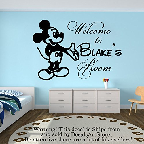 Wall Decal Personalized Custom Name Decals Welcom To Mickey Mouse Vinyl Sticker Home Decor Nursery Boy Baby Room Kids Stickers Children's Decor Art Mural SM84