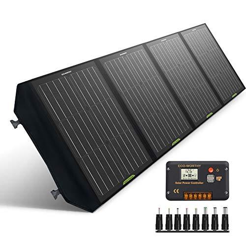 ECO-WORTHY 120W Kit de panel solar portátil controlador 20A genera 500WH / DÍA Camping al aire libre Emergencia de viaje