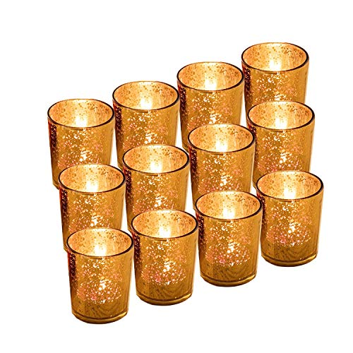 GUIFIER 12PCS Classy Mercury Glass Votive Tealight Candle Holders,Speckled Gold Candle Holder 2.67' H for Weddings, Parties and Home Decoration - Tea Light Candles are not included