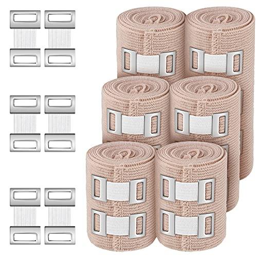 6 Rolls 3 Sizes Elastic Bandage Wrap with 50 Extra Clips Compression Bandage Wrap for Ankle, Wrist Arm, Leg Sprains