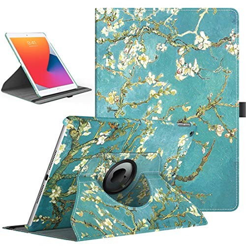 TiMOVO Case for New iPad 8th Generation 2020 / iPad 7th Generation 10.2' 2019, 360 Degree Rotating Stand Protective Cover, Smart Swivel Case with Auto Sleep/Wake Fit iPad 10.2-inch - Almond Blossom