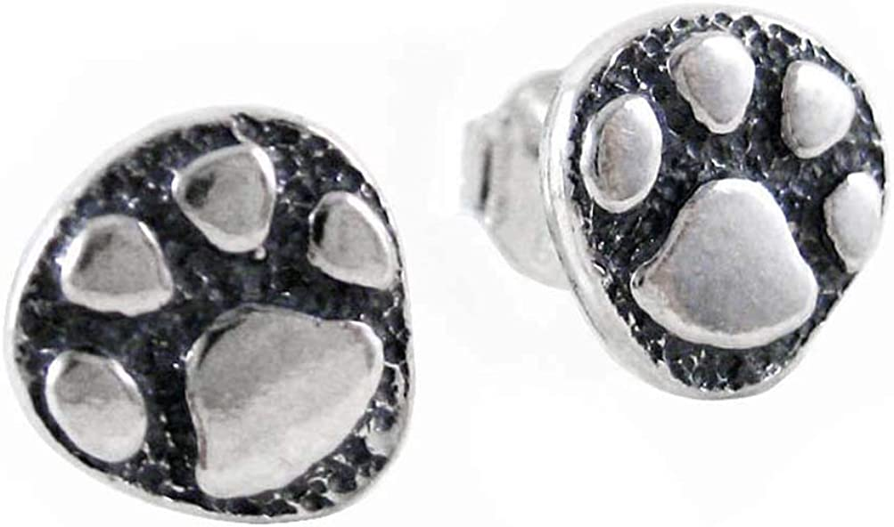 Ranking TOP19 Sterling Silver Paw Print Stud Miami Mall Earrings Post