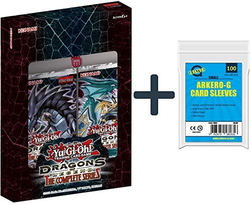A YuGiOh! Dragons of Legend: The Complete Series Booster Box DEUTSCH 1. Auflage (2 Booster + Würfel) + Arkero-G 100 Small Soft Sleeves