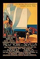 """訪問ロマンチックスペイン: Rapid Direct SteamshipサービスニューヨークからSevilla Fineアートキャンバス印刷( 20"""" x30"""" )"""