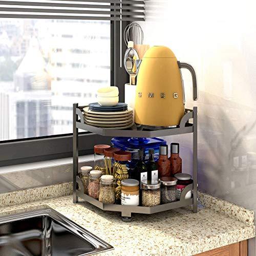 HomeMagic Mensole porta piatti a 2 Livelli – Ripiano angolare per armadietti e bancone – Pratico portaspezie per Armadio da Cucina e Superficie di Lavoro – nero opaco (2)