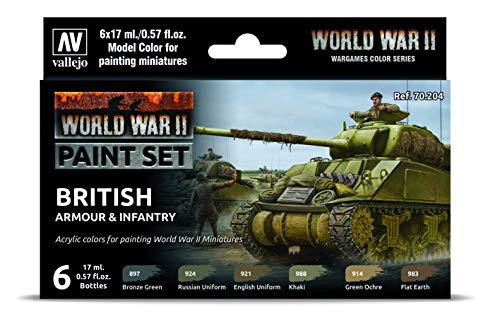 Vallejo- Farb-Set, Britische Panzerung und Infanterie, WWII Juego de construcción de maquetas. (070204)