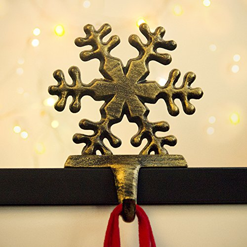 Seebesteu, gancio per calza di Natale, in ferro pesante, decorazione natalizia (fiocco di neve)