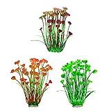 favourall 3pcs Acuario Plantas Set, 40cm Artificial Plástico Acuario Plantas No decoloración, Base de cerámica