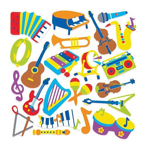 Baker Ross- Pegatinas espuma forma instrumentos musicales