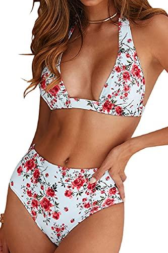 Voqeen Traje de Baño Bikini Floral Mujer Bikinis Sujetador Push-up Sexy Traje de Baño de Dos Piezas BañAdores Tops y Braguitas Ropa de Playa (Rosa, L)