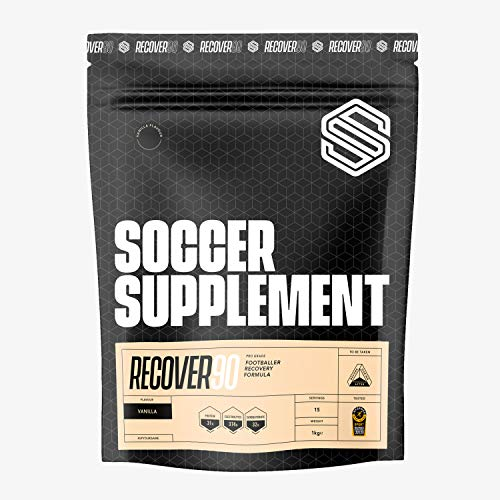 Soccer Supplement - Recover90 Recovery Shake for Footballers - Used by Professional Footballers, 31grams of Protein, 32grams of Carbohydrate, 374mg's of Electrolyte, Informed Sport Tested, Vanilla