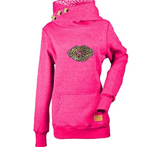Janly Clearance Sale Sudadera con capucha para mujer, otoño/invierno, estampado con tres botones, para mujer, para invierno, Navidad, día de Acción de Gracias, rosa caliente, M