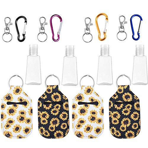 4 PCS Hand Sanitizer Holder Keychain, Travel Size Bottle Holder Refillable Containers for Soap, Lotion, and Liquids with 2 Key Ring, 2 Carabiner Clip, 30 ML Flip Cap Reusable Bottles