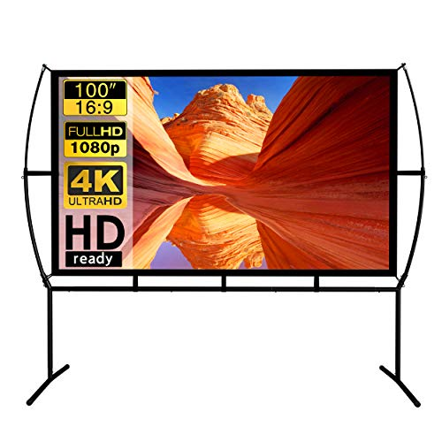 "Projector Screen with Stand,16:9 Outdoor Indoor Movie Screen, Portable Projector Screen for Home Theater Wrinkle-Free with Carry Bag (100"")"