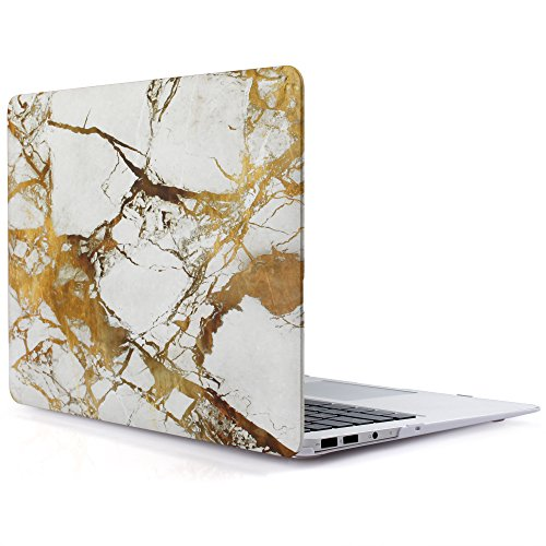iDOO Soft Touch Hard Plastic Matte Case for MacBook Air 13 inch Model A1369 and A1466 - White & Gold Marble