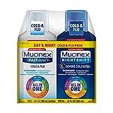 Mucinex Maximum Strength Fast-Max Cold & Flu and Nightshift, All-in-One Multi Symptom Relief Liquid, 6 Fl Oz (Pack of 2)
