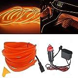 El kit de alambre del alambre Luces de coche Luces LED con interior frío Decoración del coche Atmósfera Tubos de neón redondos DC 12V Inversor de 360 grados Iluminación (Orange, 3M/9FT)
