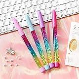 4 bolígrafos de gel con purpurina líquida y arena, con diseño de arcoíris, color Blue Ink