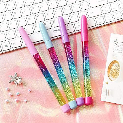 4pcs Fairy Stick Ballpoint Pen Glitter Liquid Sand Pen Bling Rainbow Dynamic Crystal Ball Pen Gel Ink Pen Student Pen Rollerball Pens for Women Girl Gift Stationery School Office Supplies (Blue Ink)