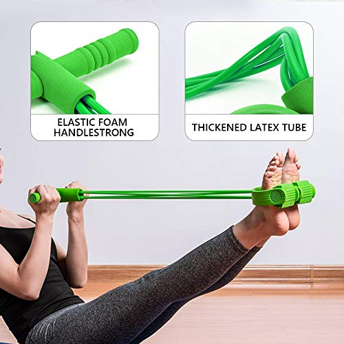 NASZE DZIECKO Pedal Resistance Band,Super Light 4-Tube Yoga Strap Elastic Pull Rope Fitness Equipment,Sit-up Exercise Device,Pedal Fitness Latex Tube(Green)